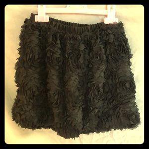 Girls Black Flower Ruffled Skirt